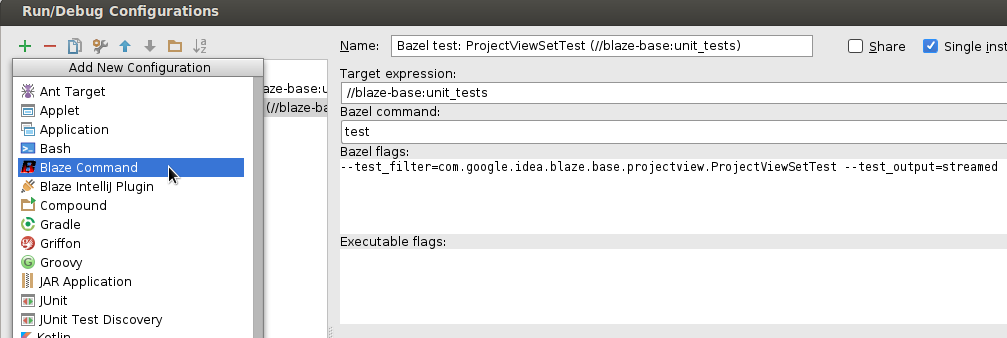 Run Configurations - IntelliJ with Bazel